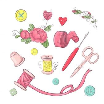 Conjunto de accesorios de costura maniquí. dibujo a mano.