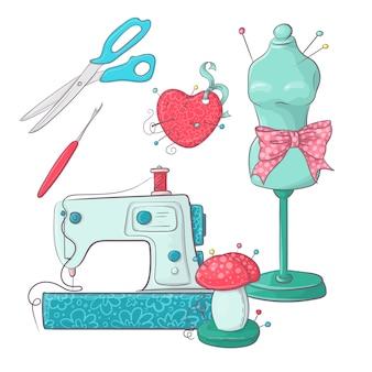 Conjunto de accesorios de costura maniquí.