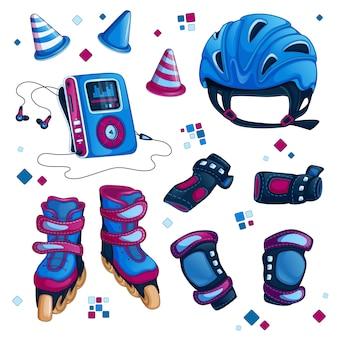 Conjunto de accesorios deportivos para el patinaje sobre ruedas.