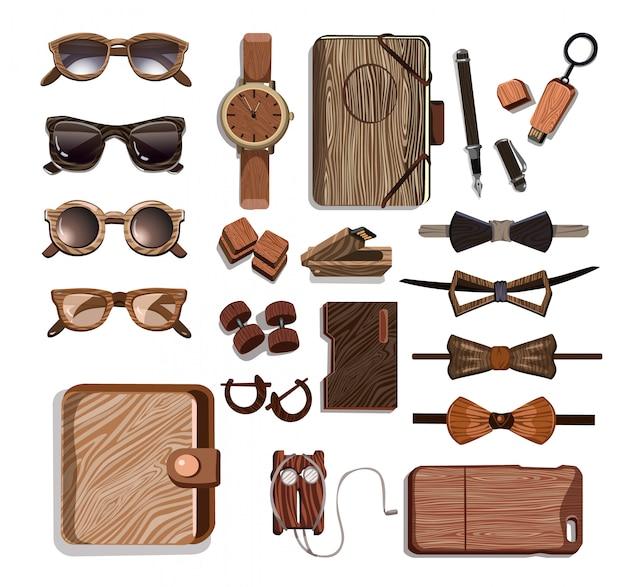 Conjunto de accesorios de madera de moda hipster