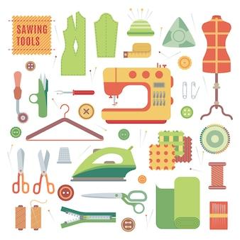 Conjunto de accesorios para máquinas de coser y confección artesanal con accesorios textiles vectoriales.