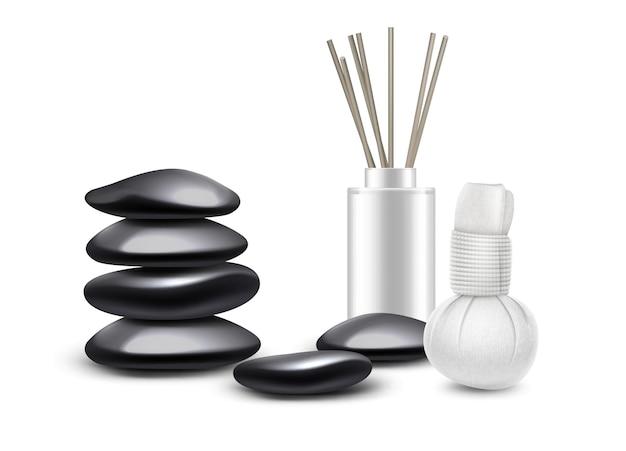 Conjunto de accesorios de masaje aislado sobre fondo blanco. piedras de masaje, compresas de hierbas, varillas aromáticas.