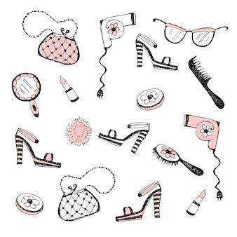 Conjunto de accesorios de mujer, cosméticos. ilustración.