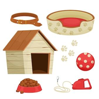 Conjunto de accesorios para perros con collar de juguetes de perrera diferentes bastones para el cuidado de mascotas aislado
