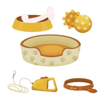 Conjunto de accesorios para perros con collar de juguetes de perrera diferentes bastones para el cuidado de mascotas