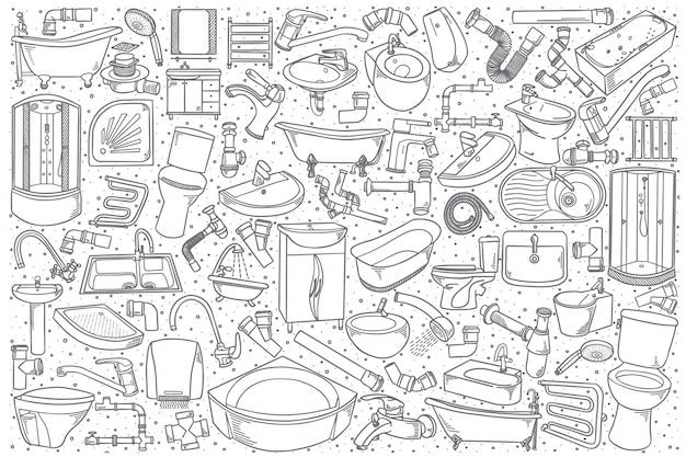 Conjunto de accesorios de plomería dibujados a mano