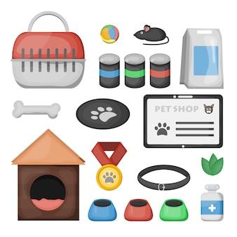 Conjunto de accesorios de tienda de mascotas de dibujos animados y equipo veterinario sobre fondo blanco.