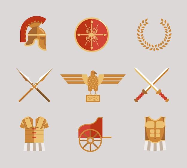 Conjunto de accesorios de vector de guerrero antiguo con casco, lanzas, espadas, corona, túnica, peto, escudo y águila en rojo y oro