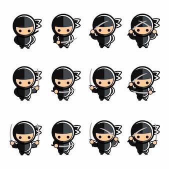 Conjunto de acción ninja negro de dibujos animados