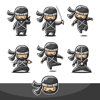 Conjunto de acción de ninja pequeño de dibujos animados