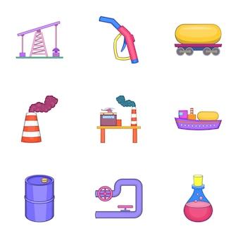 Conjunto de aceite, estilo de dibujos animados