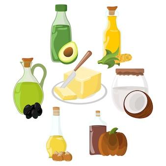 Conjunto de aceite, grasa, icono de mantequilla.
