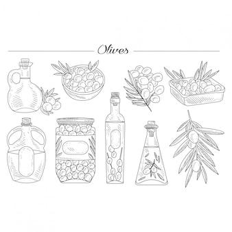 Conjunto de aceite de oliva dibujado a mano