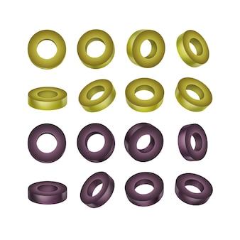 Conjunto de aceitunas en rodajas negras y verdes