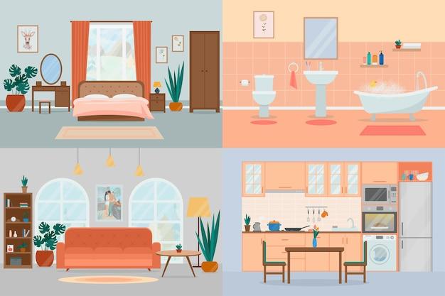 Conjunto de acogedoras habitaciones de casa de diseño de interiores con muebles.