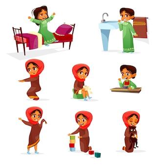 Conjunto de actividad de rutina de mañana de dibujos animados niña árabe.