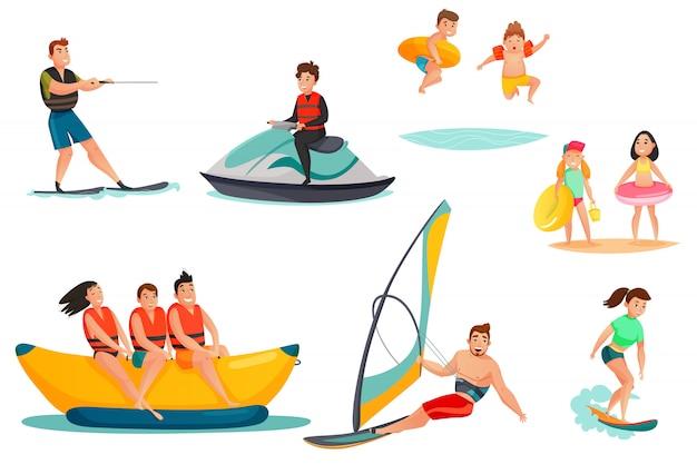 Conjunto de actividades acuáticas de verano
