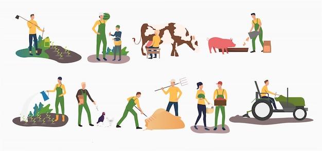 Conjunto de actividades agrícolas del tiempo.