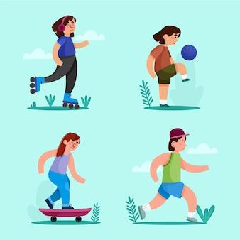 Conjunto de actividades al aire libre de verano