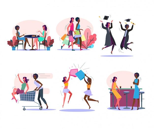 Conjunto de actividades de amigas