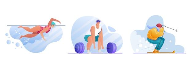 Conjunto de actividades deportivas. personajes de deportistas. natación, levantamiento de pesas, esquí. entrenamiento en piscina. culturista con barra. ejercicios al aire libre. estilo de vida activo