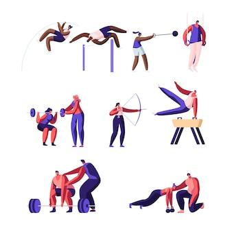 Conjunto de actividades deportivas profesionales. entrenamiento de personajes masculinos y femeninos de deportistas.