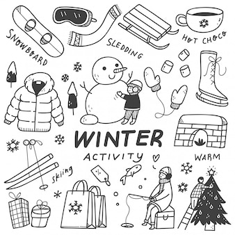 Conjunto de actividades de invierno en estilo doodle
