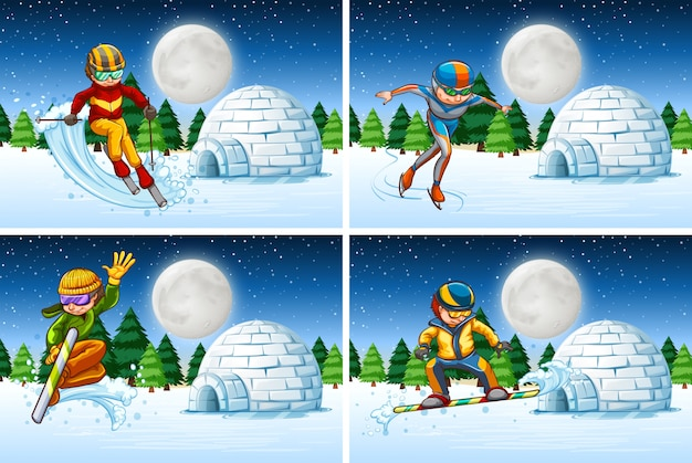 Conjunto de actividades de nieve por la noche.