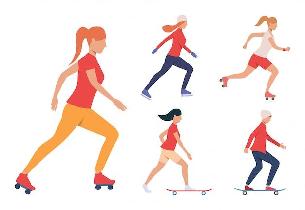 Conjunto de actividades de patinaje. chicas y chico patinando