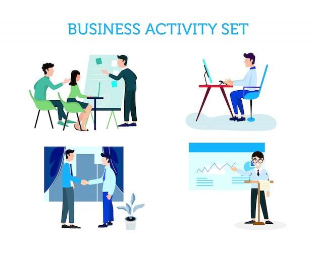 Conjunto de actividades de personas de negocios