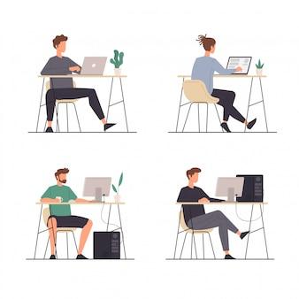 Conjunto de actividades de personas sentadas con sus computadoras portátiles y computadoras