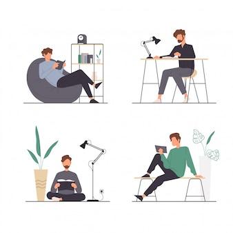 Conjunto de actividades de personas sentados y leyendo un libro
