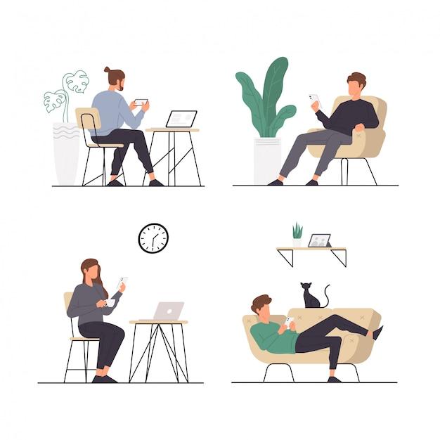 Conjunto de actividades de personas sentados relajantes mientras usan su teléfono