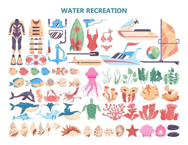 Conjunto de actividades de recreación acuática. colección de cosas de vacaciones de verano