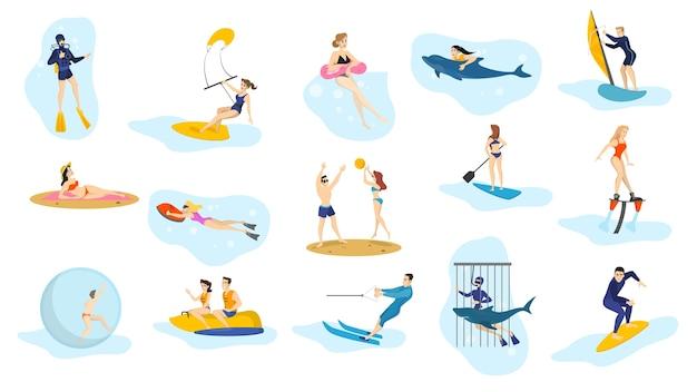 Conjunto de actividades de verano en el océano. deporte acuático, vacaciones