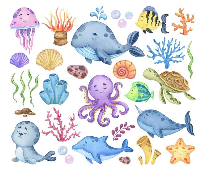 Conjunto de acuarela de animales marinos y flora.