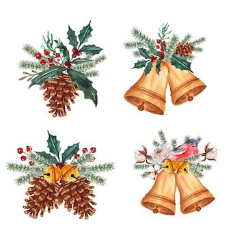 Conjunto de acuarela arreglo floral de invierno con campana