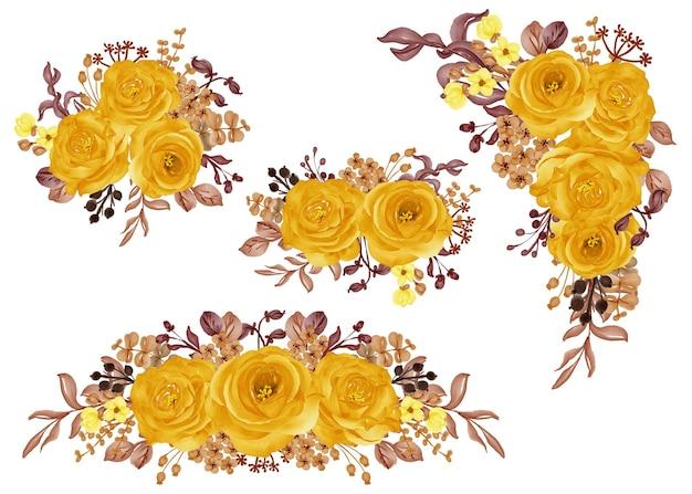 Conjunto de acuarela de arreglo floral con otoño otoño rosa amarillo