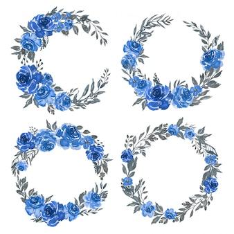 Conjunto de acuarela de arreglo de marco floral corona azul