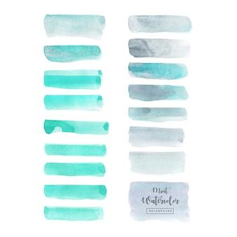 Conjunto acuarela azul gris aislado sobre fondo blanco