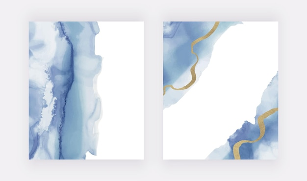 Conjunto de acuarela azul