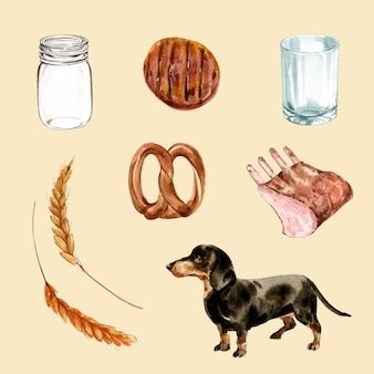 Conjunto de acuarela carne a la parrilla, perro, cebada ilustración