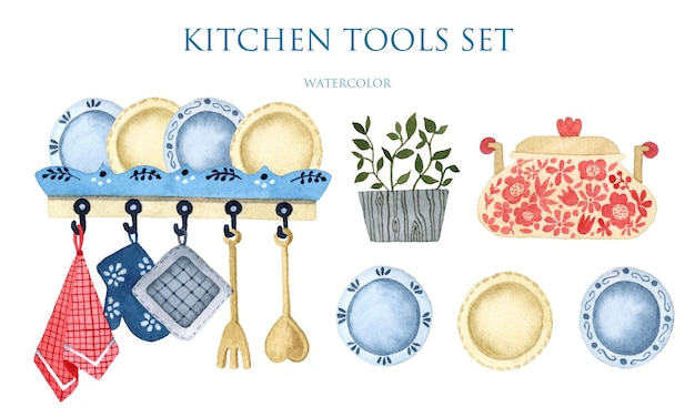Conjunto de acuarela dibujada a mano de elementos aislados de utensilios de cocina