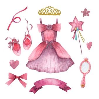 Conjunto de acuarela dibujada a mano de lindos accesorios de princesita
