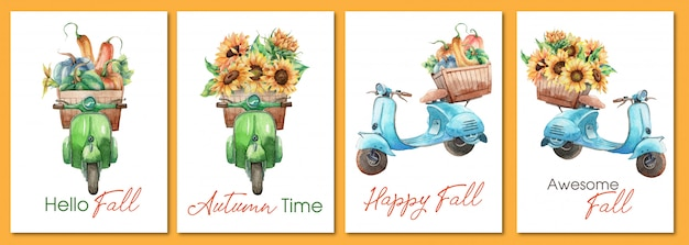 Conjunto acuarela dibujada a mano de tarjetas de felicitación de otoño con motocicletas vintage