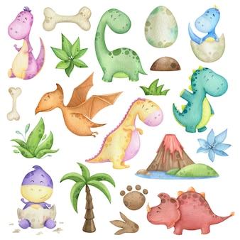 Conjunto de acuarela con dinosaurios y elementos de diseño