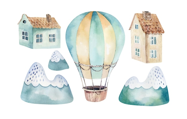 Conjunto de acuarela de una linda y elegante escena del cielo con globos aerostáticos nubes árboles casas