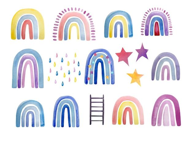 Conjunto de acuarela lindo colorido diferentes colores de arco iris, gotas de lluvia y estrellas.
