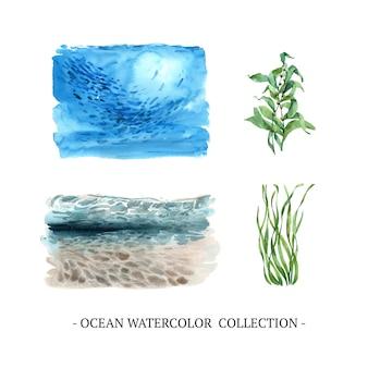 Conjunto de acuarela bajo el mar, algas