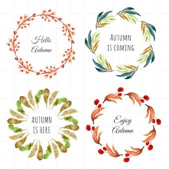 Conjunto de acuarela de marco de hojas de otoño 4 en 1